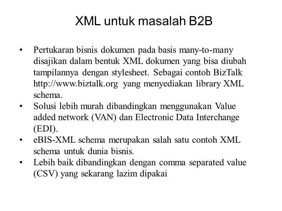 XML untuk masalah B2B Pertukaran bisnis dokumen pada basis many-to-many disajikan dalam bentuk XML dokumen yang bisa diubah tampilannya dengan stylesheet.