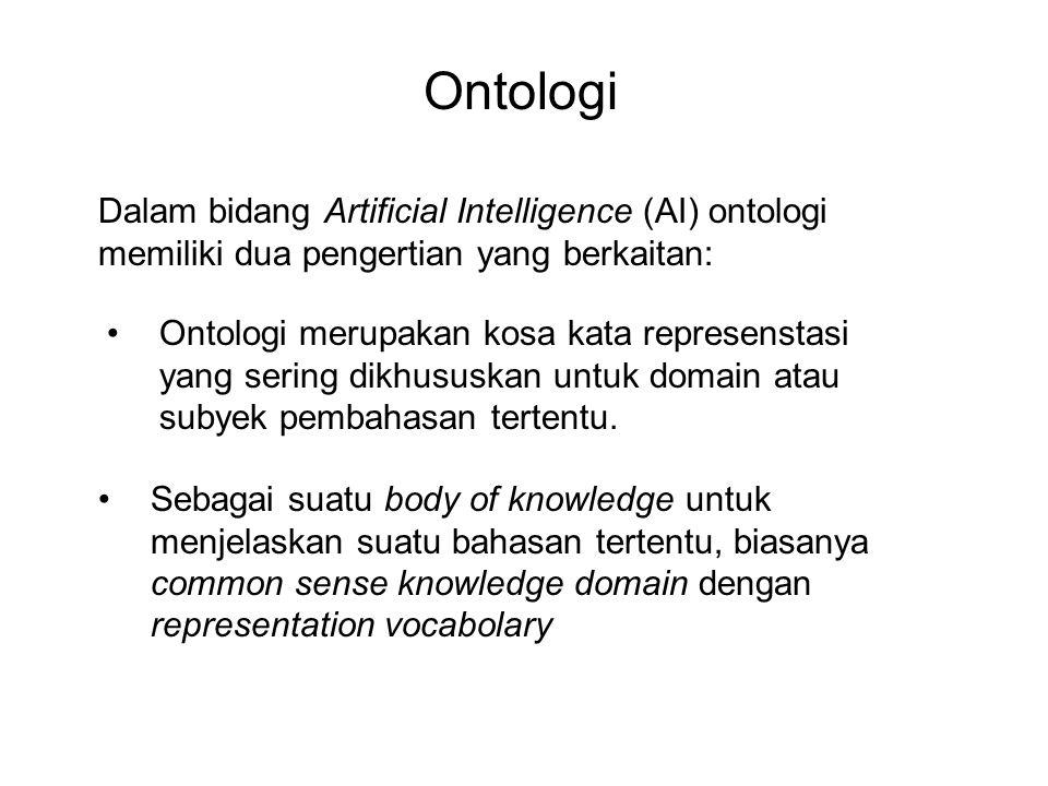 Ontologi Dalam bidang Artificial Intelligence (AI) ontologi memiliki dua pengertian yang berkaitan: Ontologi merupakan kosa kata represenstasi yang sering dikhususkan untuk domain atau subyek pembahasan tertentu.