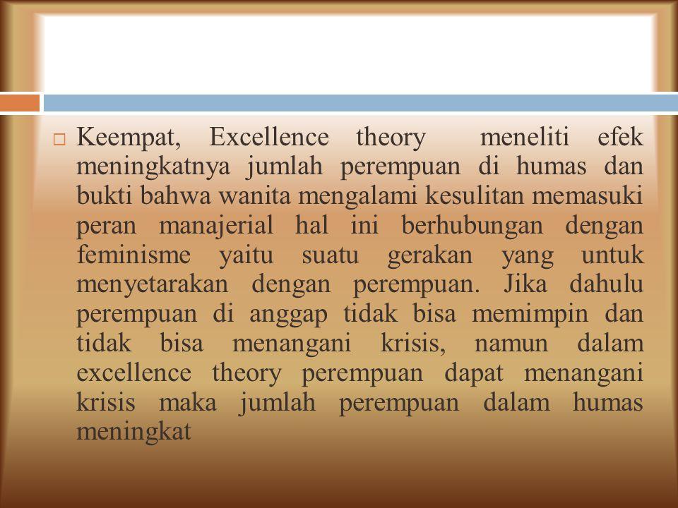  Keempat, Excellence theory meneliti efek meningkatnya jumlah perempuan di humas dan bukti bahwa wanita mengalami kesulitan memasuki peran manajerial