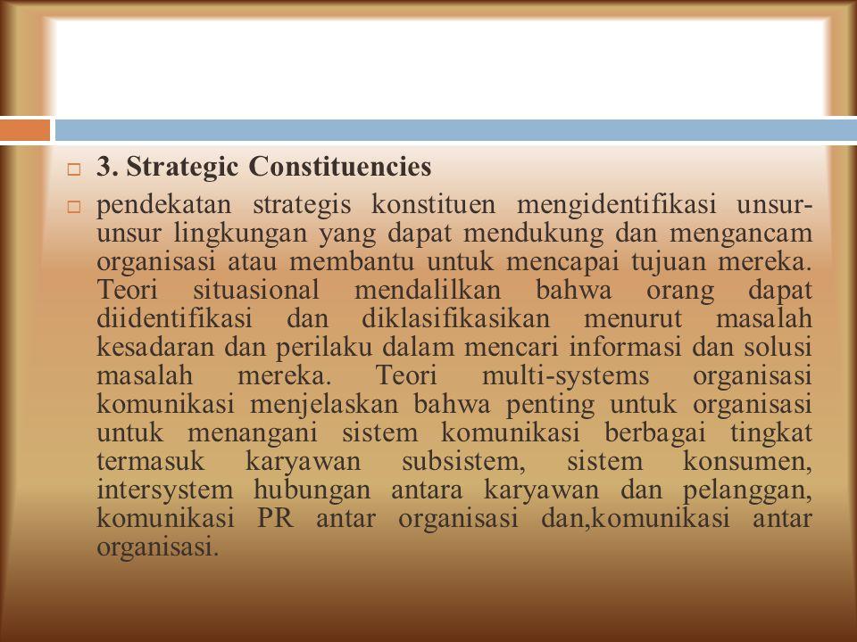  3. Strategic Constituencies  pendekatan strategis konstituen mengidentifikasi unsur- unsur lingkungan yang dapat mendukung dan mengancam organisasi