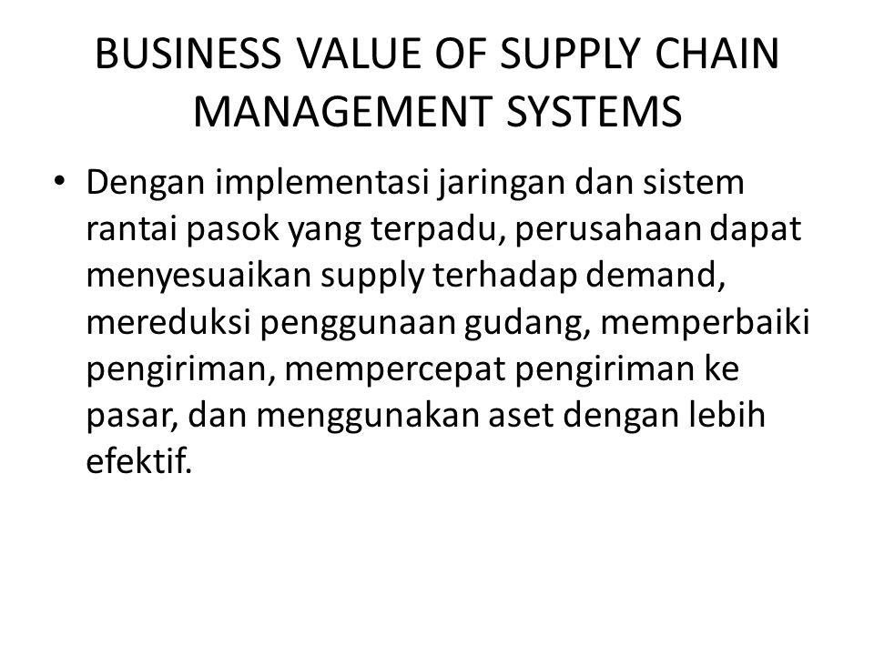 BUSINESS VALUE OF SUPPLY CHAIN MANAGEMENT SYSTEMS Dengan implementasi jaringan dan sistem rantai pasok yang terpadu, perusahaan dapat menyesuaikan sup