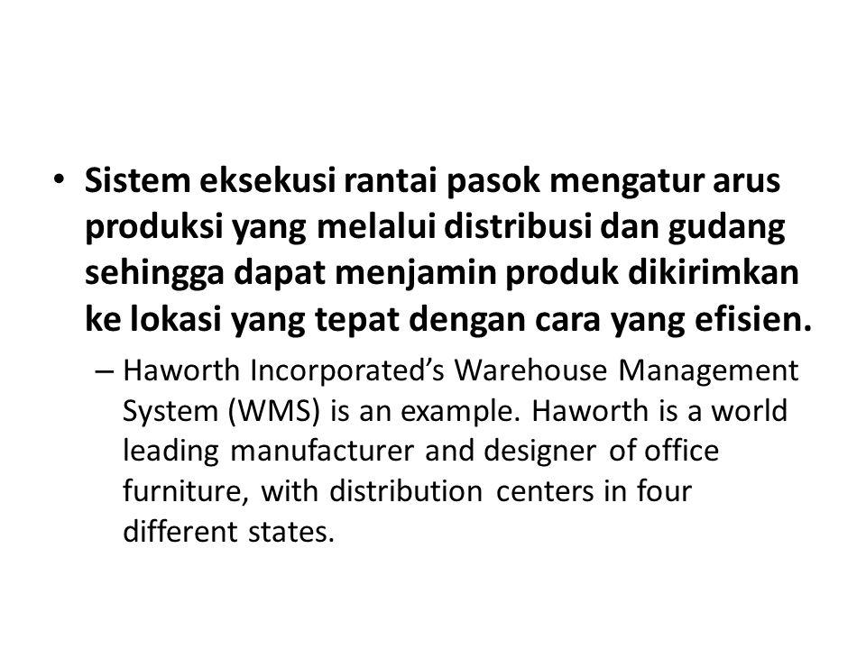 Sistem eksekusi rantai pasok mengatur arus produksi yang melalui distribusi dan gudang sehingga dapat menjamin produk dikirimkan ke lokasi yang tepat