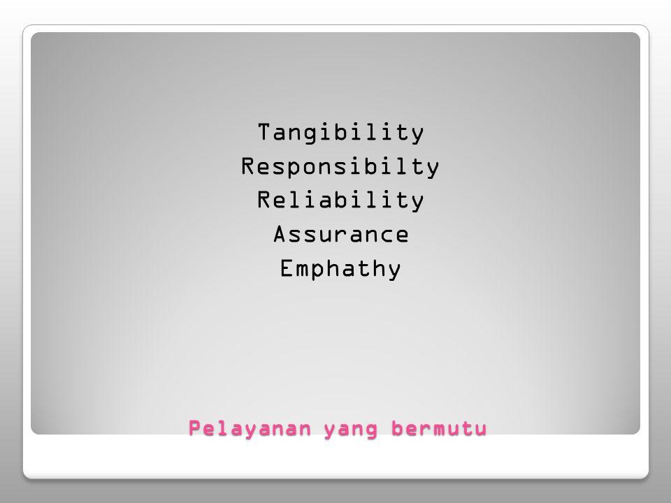 Pelayanan yang bermutu Tangibility Responsibilty Reliability Assurance Emphathy