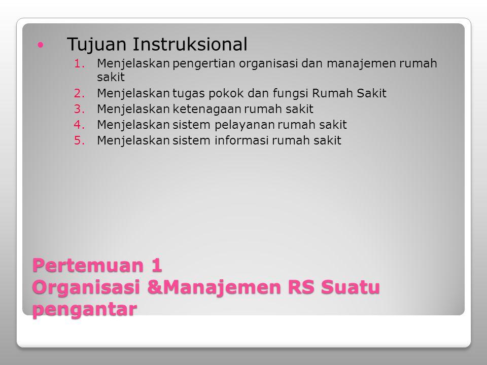 Pertemuan 1 Organisasi &Manajemen RS Suatu pengantar Tujuan Instruksional 1.Menjelaskan pengertian organisasi dan manajemen rumah sakit 2.Menjelaskan