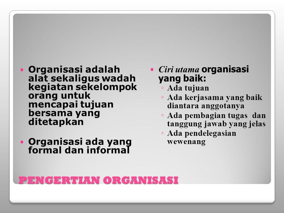 PENGERTIAN ORGANISASI Organisasi adalah alat sekaligus wadah kegiatan sekelompok orang untuk mencapai tujuan bersama yang ditetapkan Organisasi ada ya