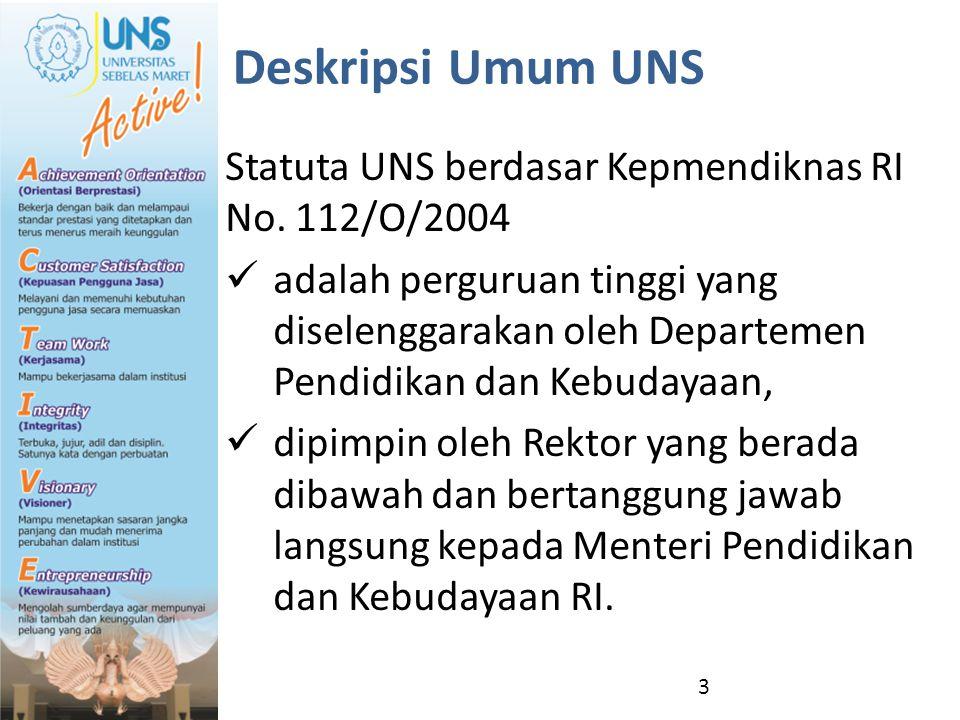 Deskripsi Umum UNS Statuta UNS berdasar Kepmendiknas RI No. 112/O/2004 adalah perguruan tinggi yang diselenggarakan oleh Departemen Pendidikan dan Keb