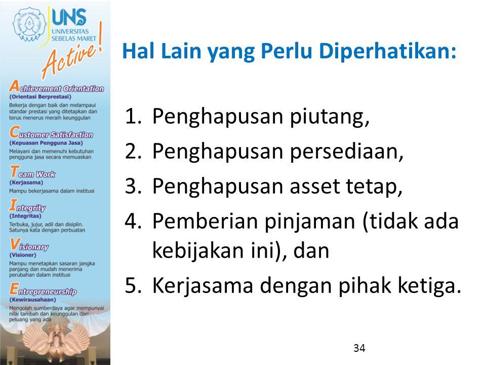 Hal Lain yang Perlu Diperhatikan: 1.Penghapusan piutang, 2.Penghapusan persediaan, 3.Penghapusan asset tetap, 4.Pemberian pinjaman (tidak ada kebijaka