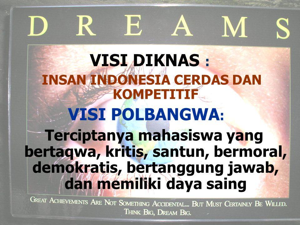 VISI DIKNAS : INSAN INDONESIA CERDAS DAN KOMPETITIF VISI POLBANGWA : Terciptanya mahasiswa yang bertaqwa, kritis, santun, bermoral, demokratis, bertan