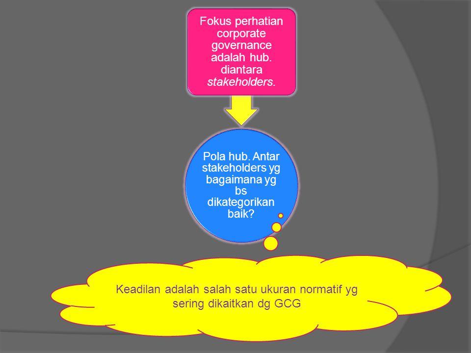 Pola hub. Antar stakeholders yg bagaimana yg bs dikategorikan baik? Fokus perhatian corporate governance adalah hub. diantara stakeholders. Keadilan a