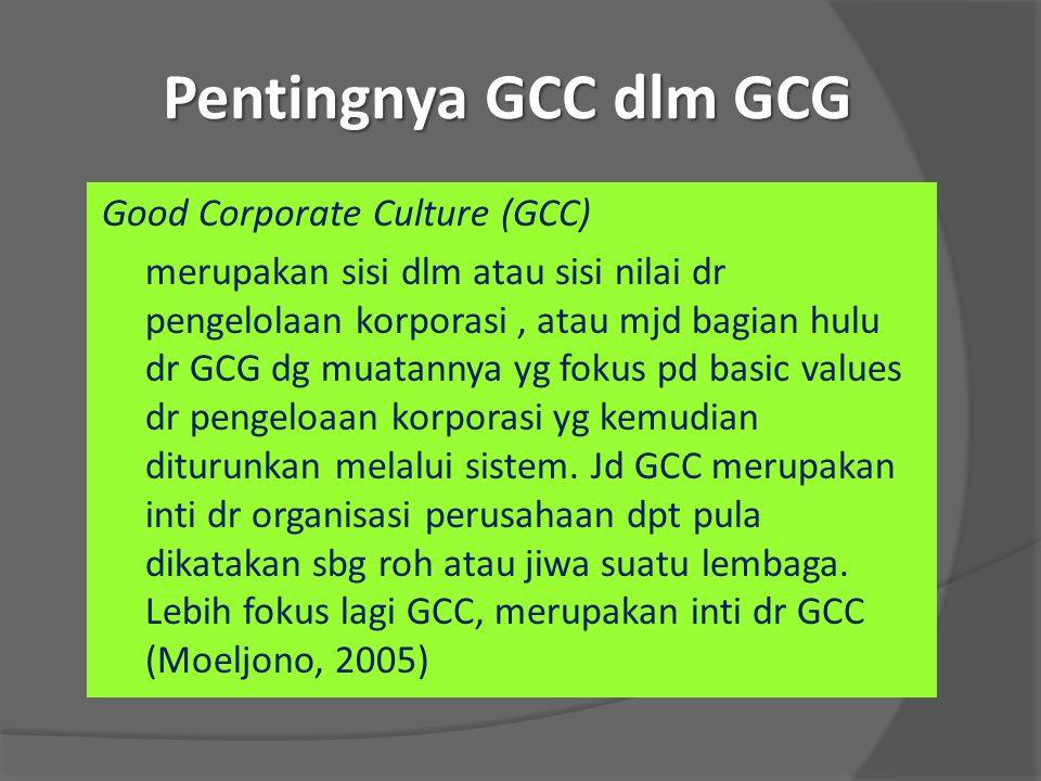 Pentingnya GCC dlm GCG Good Corporate Culture (GCC) merupakan sisi dlm atau sisi nilai dr pengelolaan korporasi, atau mjd bagian hulu dr GCG dg muatan