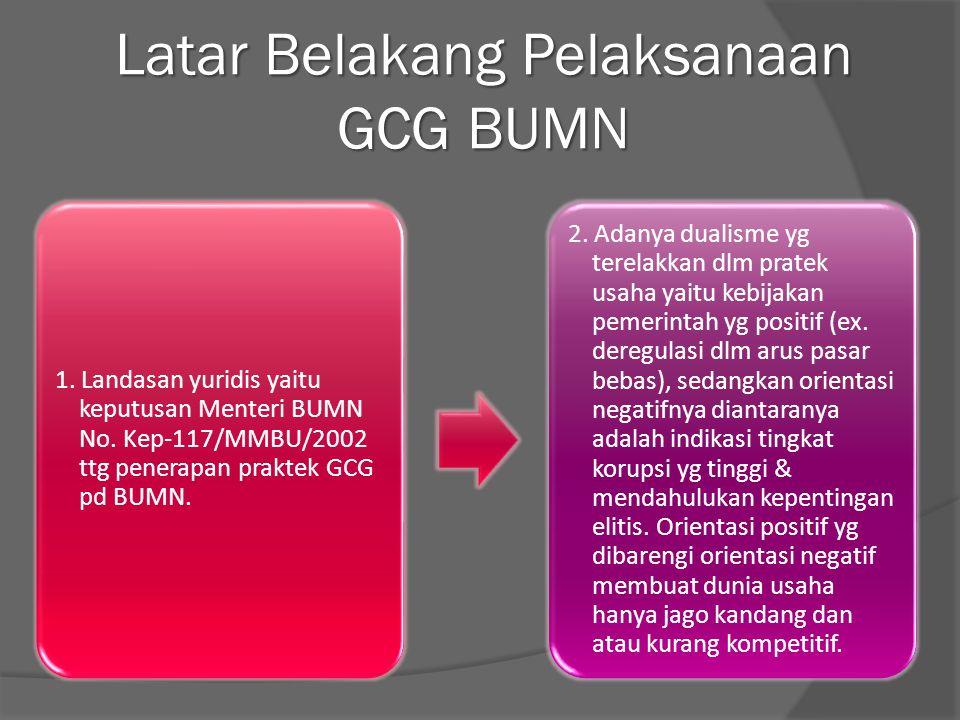 Latar Belakang Pelaksanaan GCG BUMN 1. Landasan yuridis yaitu keputusan Menteri BUMN No. Kep-117/MMBU/2002 ttg penerapan praktek GCG pd BUMN. 2. Adany