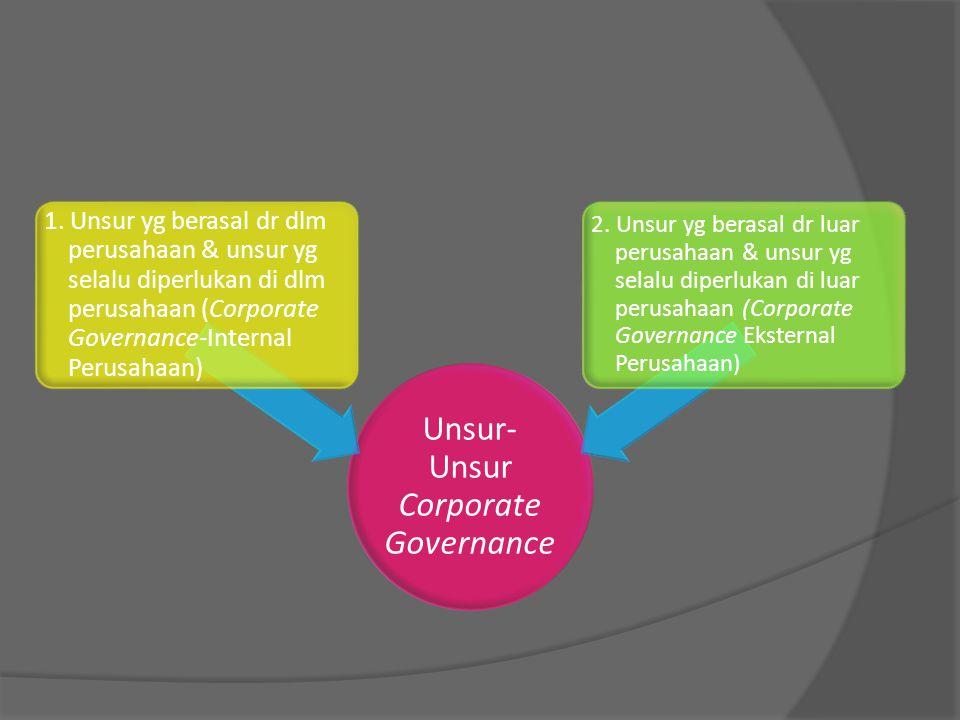 Unsur- Unsur Corporate Governance 1. Unsur yg berasal dr dlm perusahaan & unsur yg selalu diperlukan di dlm perusahaan (Corporate Governance-Internal