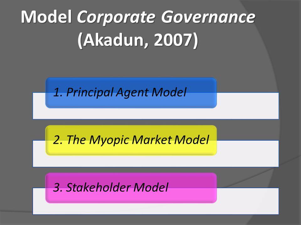 Model Corporate Governance (Akadun, 2007) 1. Principal Agent Model2. The Myopic Market Model3. Stakeholder Model