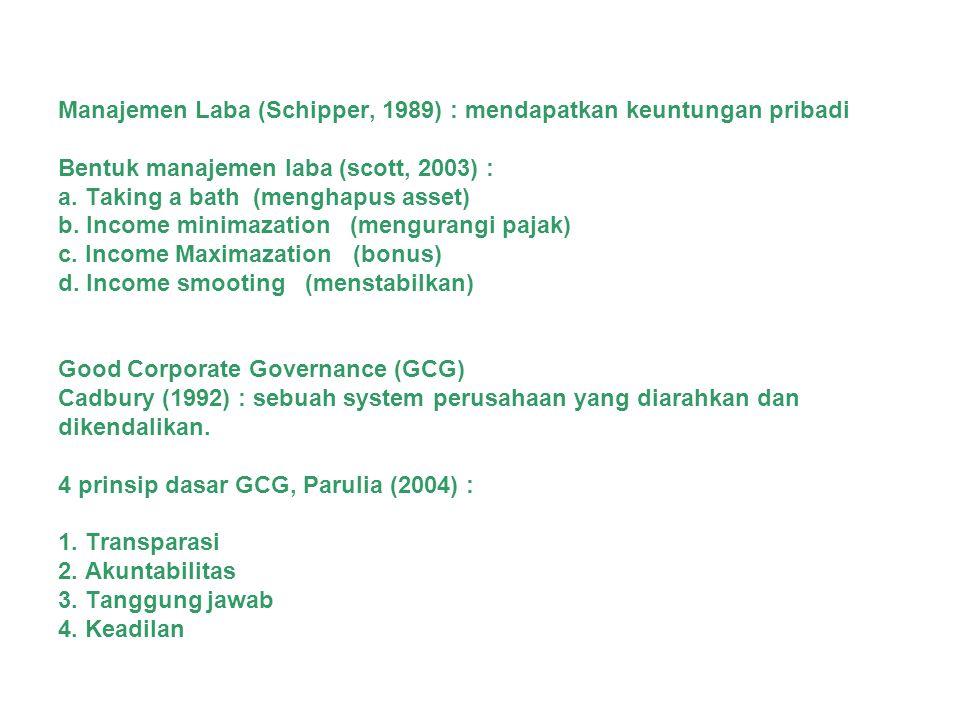 Manajemen Laba (Schipper, 1989) : mendapatkan keuntungan pribadi Bentuk manajemen laba (scott, 2003) : a.