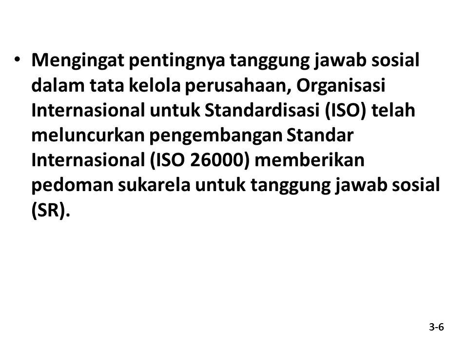 Mengingat pentingnya tanggung jawab sosial dalam tata kelola perusahaan, Organisasi Internasional untuk Standardisasi (ISO) telah meluncurkan pengemba