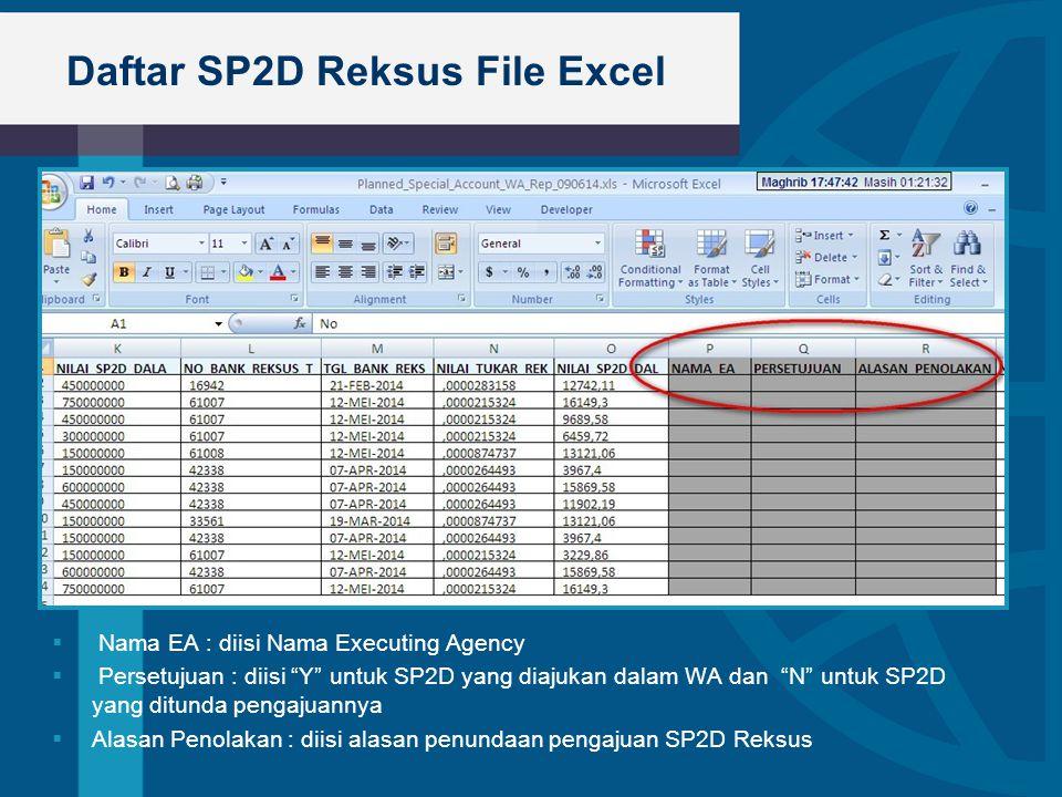 """Daftar SP2D Reksus File Excel  Bullet 1  Nama EA : diisi Nama Executing Agency  Persetujuan : diisi """"Y"""" untuk SP2D yang diajukan dalam WA dan """"N"""" u"""