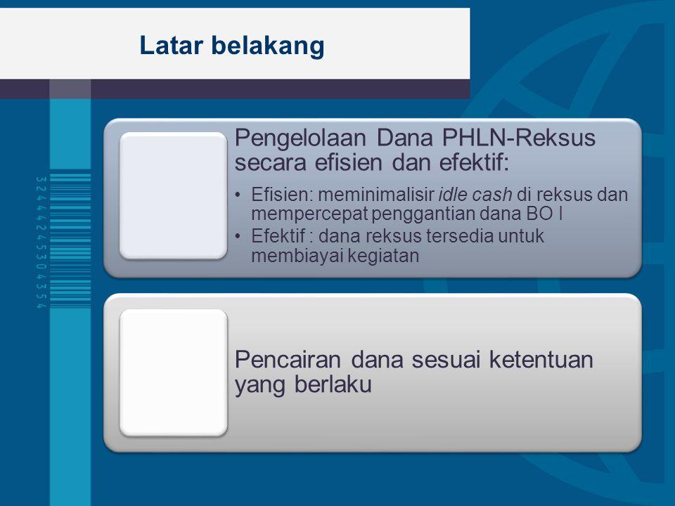 Latar belakang Pengelolaan Dana PHLN-Reksus secara efisien dan efektif: Efisien: meminimalisir idle cash di reksus dan mempercepat penggantian dana BO