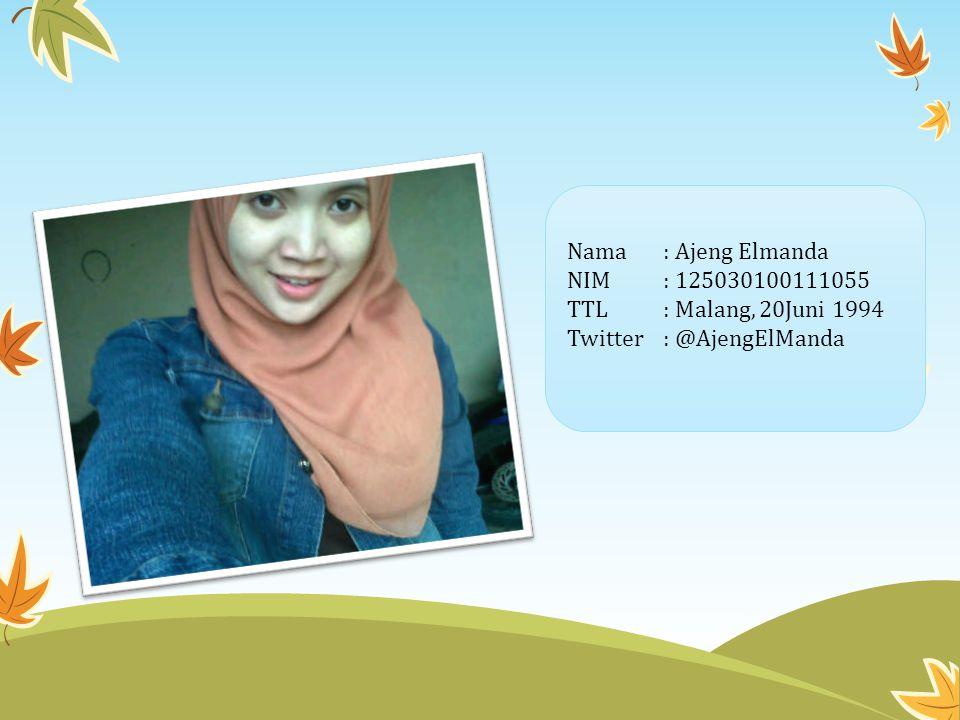 Nama: Ajeng Elmanda NIM: 125030100111055 TTL: Malang, 20Juni 1994 Twitter: @AjengElManda