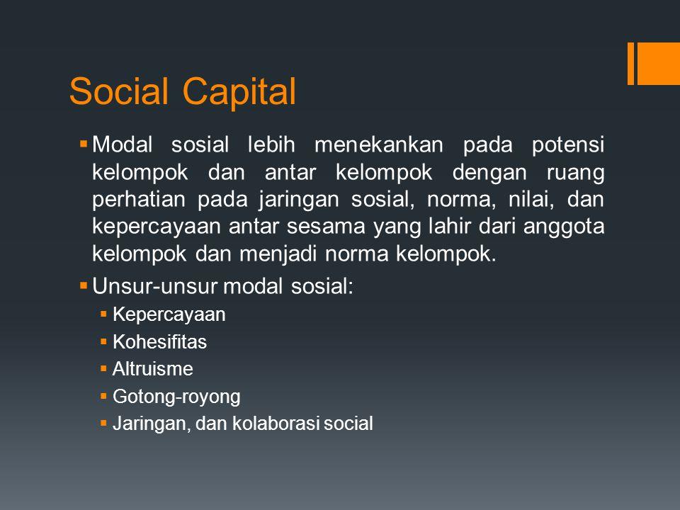 Social Capital  Modal sosial lebih menekankan pada potensi kelompok dan antar kelompok dengan ruang perhatian pada jaringan sosial, norma, nilai, dan kepercayaan antar sesama yang lahir dari anggota kelompok dan menjadi norma kelompok.