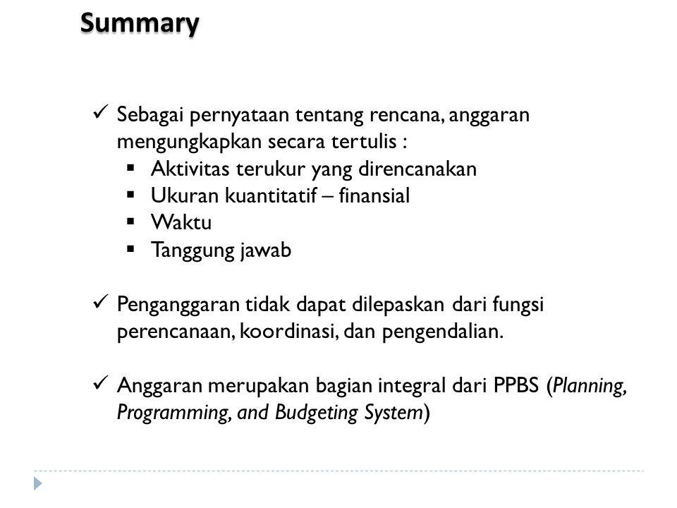 Summary Sebagai pernyataan tentang rencana, anggaran mengungkapkan secara tertulis :  Aktivitas terukur yang direncanakan  Ukuran kuantitatif – fina