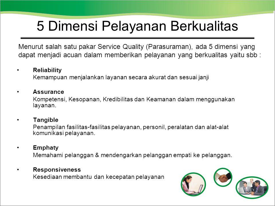 Reliability Kemampuan menjalankan layanan secara akurat dan sesuai janji Assurance Kompetensi, Kesopanan, Kredibilitas dan Keamanan dalam menggunakan