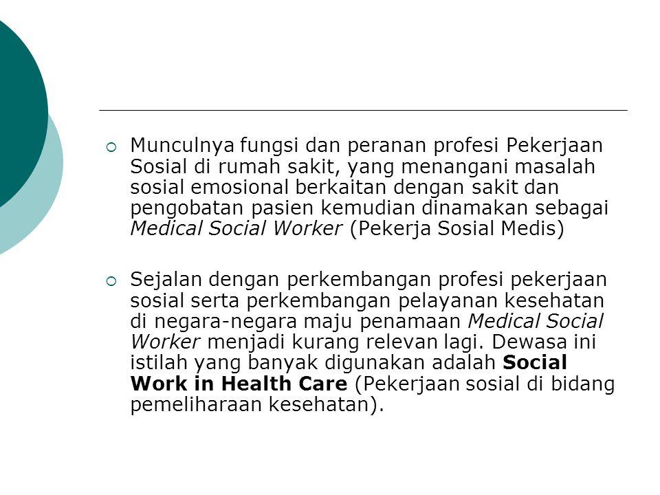  Munculnya fungsi dan peranan profesi Pekerjaan Sosial di rumah sakit, yang menangani masalah sosial emosional berkaitan dengan sakit dan pengobatan