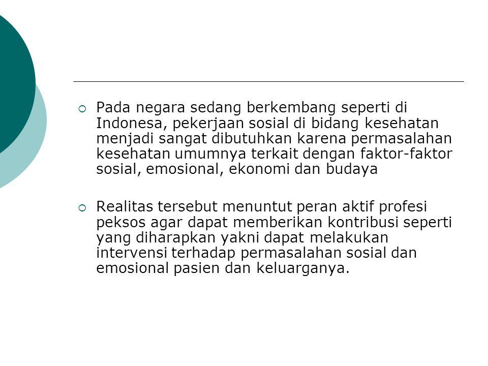  Pada negara sedang berkembang seperti di Indonesa, pekerjaan sosial di bidang kesehatan menjadi sangat dibutuhkan karena permasalahan kesehatan umum