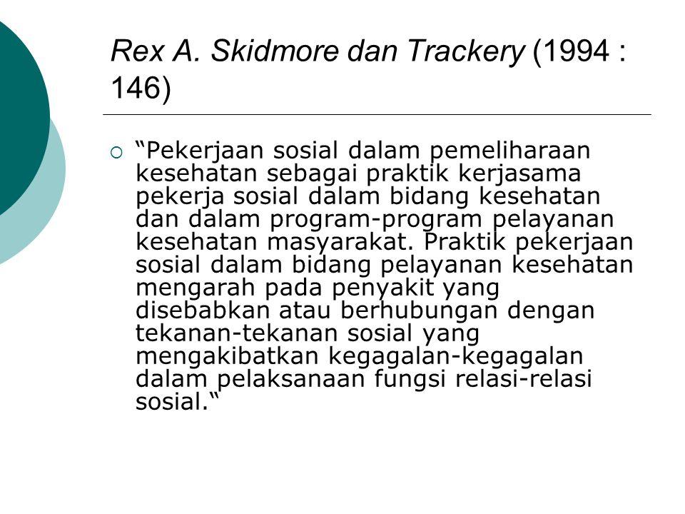 """Rex A. Skidmore dan Trackery (1994 : 146)  """"Pekerjaan sosial dalam pemeliharaan kesehatan sebagai praktik kerjasama pekerja sosial dalam bidang keseh"""