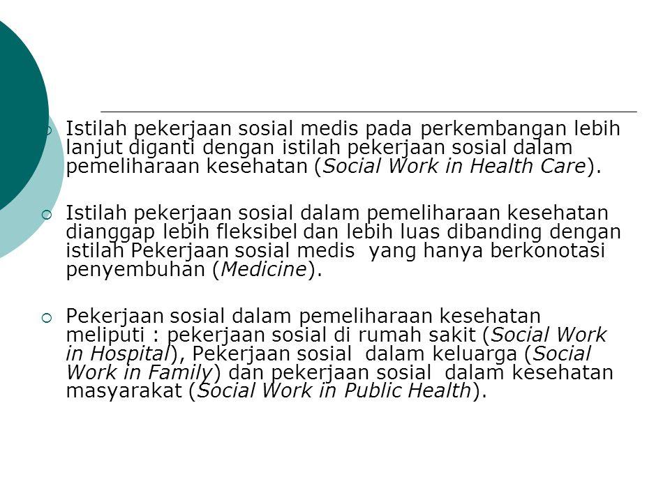  Istilah pekerjaan sosial medis pada perkembangan lebih lanjut diganti dengan istilah pekerjaan sosial dalam pemeliharaan kesehatan (Social Work in H