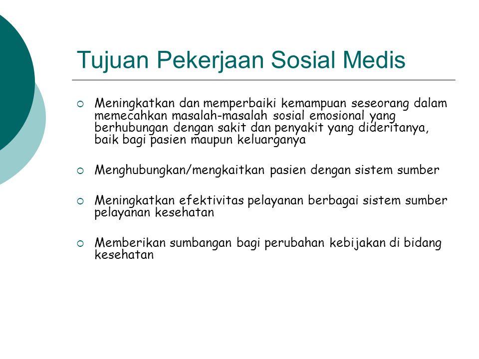 Tujuan Pekerjaan Sosial Medis  Meningkatkan dan memperbaiki kemampuan seseorang dalam memecahkan masalah-masalah sosial emosional yang berhubungan de