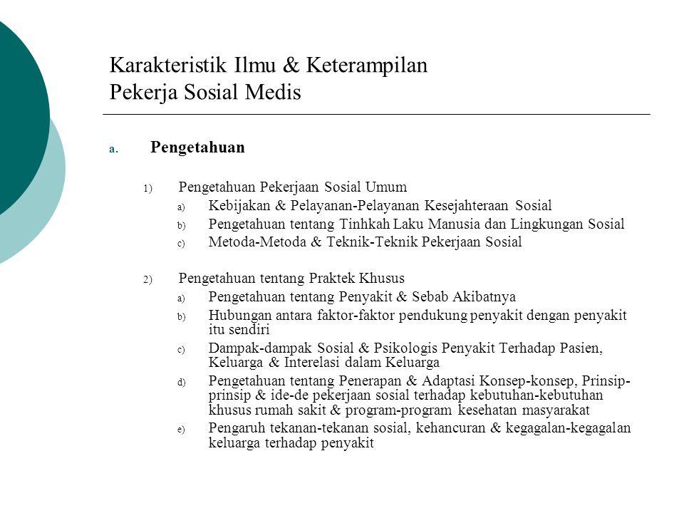Karakteristik Ilmu & Keterampilan Pekerja Sosial Medis a. Pengetahuan 1) Pengetahuan Pekerjaan Sosial Umum a) Kebijakan & Pelayanan-Pelayanan Kesejaht