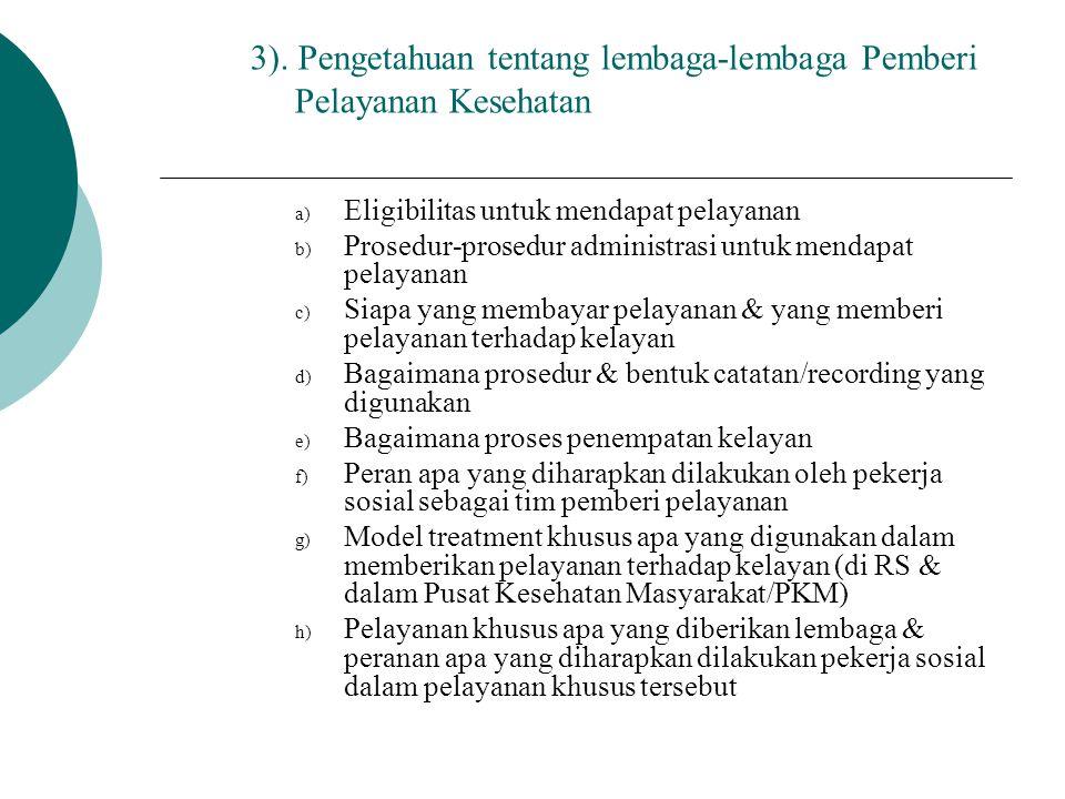 3). Pengetahuan tentang lembaga-lembaga Pemberi Pelayanan Kesehatan a) Eligibilitas untuk mendapat pelayanan b) Prosedur-prosedur administrasi untuk m