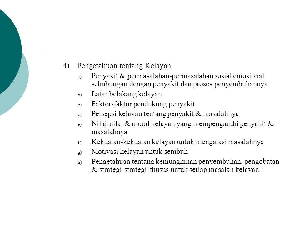 4). Pengetahuan tentang Kelayan a) Penyakit & permasalahan-permasalahan sosial emosional sehubungan dengan penyakit dan proses penyembuhannya b) Latar