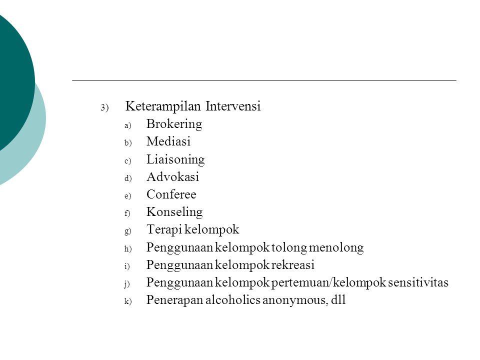 3) Keterampilan Intervensi a) Brokering b) Mediasi c) Liaisoning d) Advokasi e) Conferee f) Konseling g) Terapi kelompok h) Penggunaan kelompok tolong
