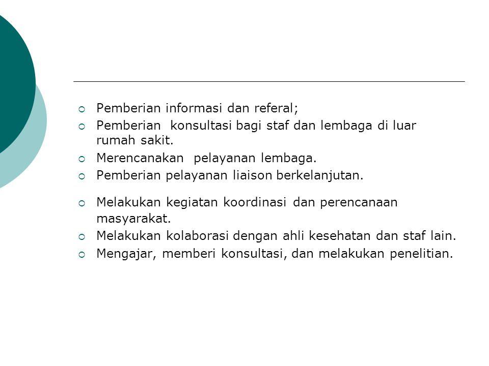  Pemberian informasi dan referal;  Pemberian konsultasi bagi staf dan lembaga di luar rumah sakit.  Merencanakan pelayanan lembaga.  Pemberian pel