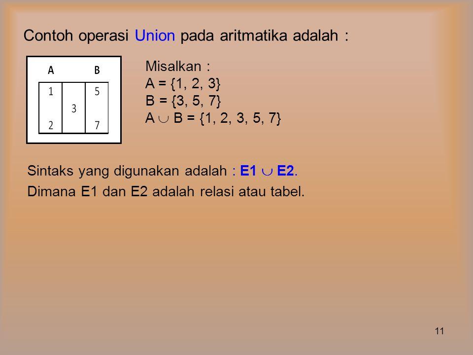 Jika diketahui Tabel Suplier A dan B sbb : Untuk menampilkan tabel Suplier A dan B dimana adalah Snama , Kota ditulis :  Snama, Kota (Suplier A)   Snama, Kota (Suplier B) 12