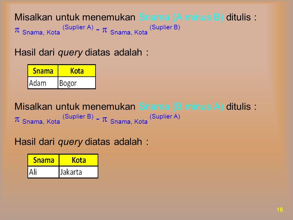  Set Intersection  Operasi irisan himpunan (set intersection) digunakan untuk mendapatkan irisan (kesamaan anggota) dari dua buah kelompok data dari suatu tabel atau hasil query.