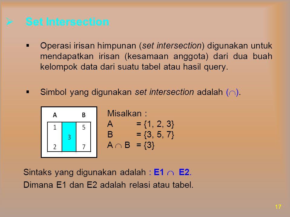 Misalkan untuk menemukan Snama, Kota (A irisan B) ditulis :  Snama, Kota (Suplier A)   Snama, Kota (Suplier B) Hasil dari query diatas adalah : 18