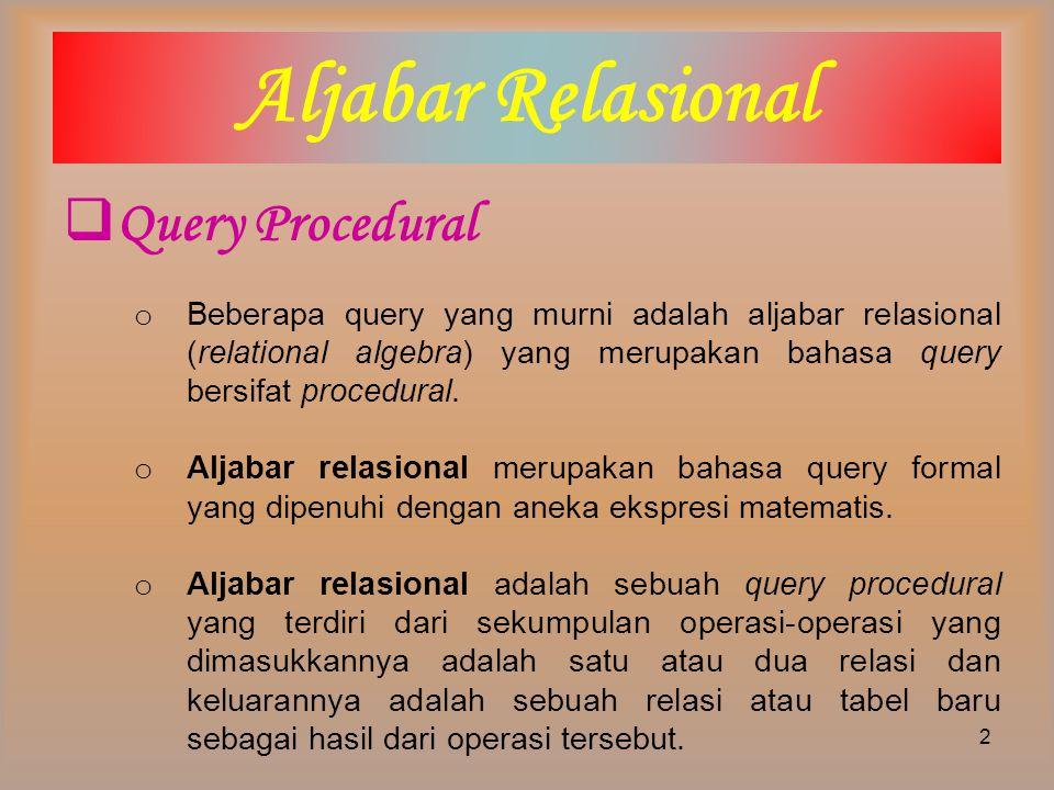  Simbol Aljabar Relasional Aljabar relasional memiliki simbol yang terdiri dari suatu perintah atau susunan perintah yang dijalankan pada satu atau lebih input relasi dan menghasilkan relasi atau tabel baru sebagai output.
