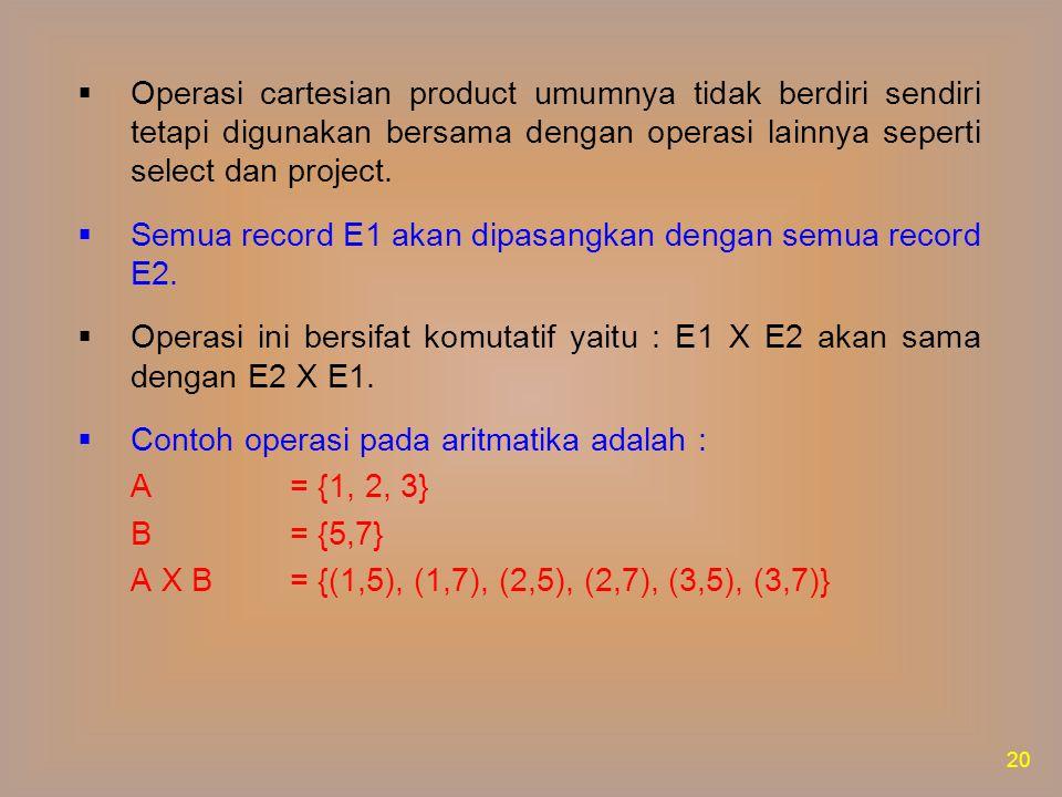 Jika diketahui dua tabel A dan B seperti berikut : 21 Maka operasi A X B akan menghasilkan :