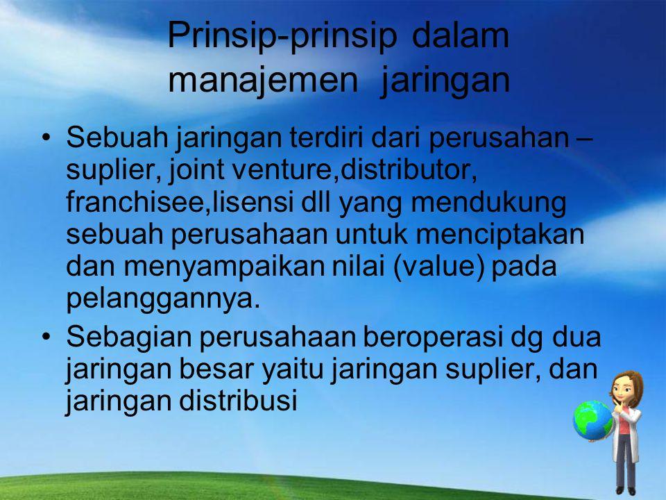 Prinsip-prinsip dalam manajemen jaringan Sebuah jaringan terdiri dari perusahan – suplier, joint venture,distributor, franchisee,lisensi dll yang mend