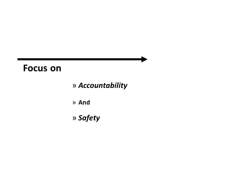 Focus on » Accountability » And » Safety