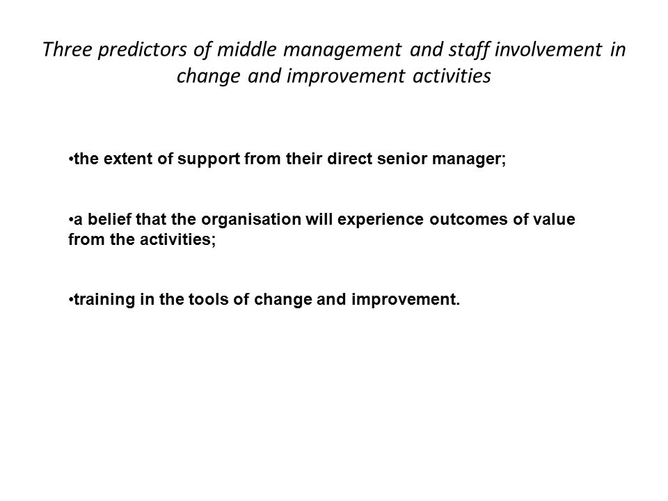 Three predictors of middle management and staff involvement in change and improvement activities the extent of support from their direct senior manager; a belief that the organisation will experience outcomes of value from the activities; training in the tools of change and improvement.