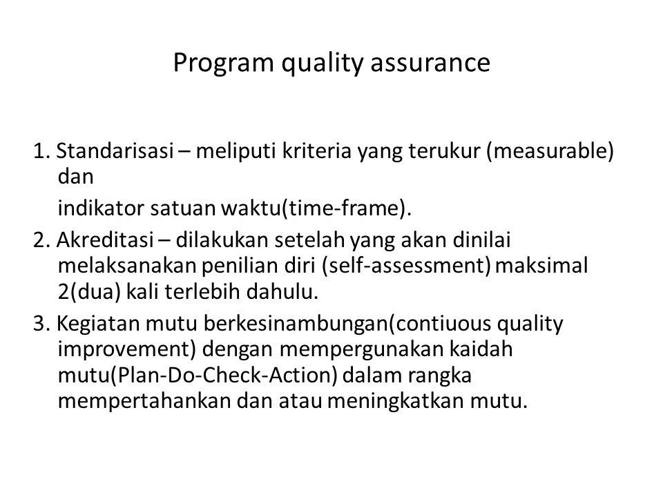 Standardisasi :  Internasional :ISO 2001  Nasional :standar nasional (SPM) Akreditasi  Internasional:JCI Accreditaton Malcom Baldridge  Nasional:akreditasi RS (KARS)