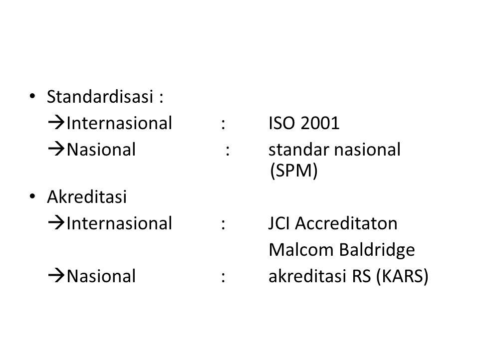 1.Akreditasi di indonesia bersifat wajib 2.Tujuan utama akreditasi adalah: meningkatkan mutu pelayanan (UURS no 44 thn 2011.
