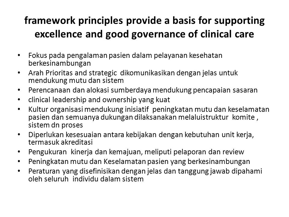 Chapters in Section 1 Patient centered standards 1.