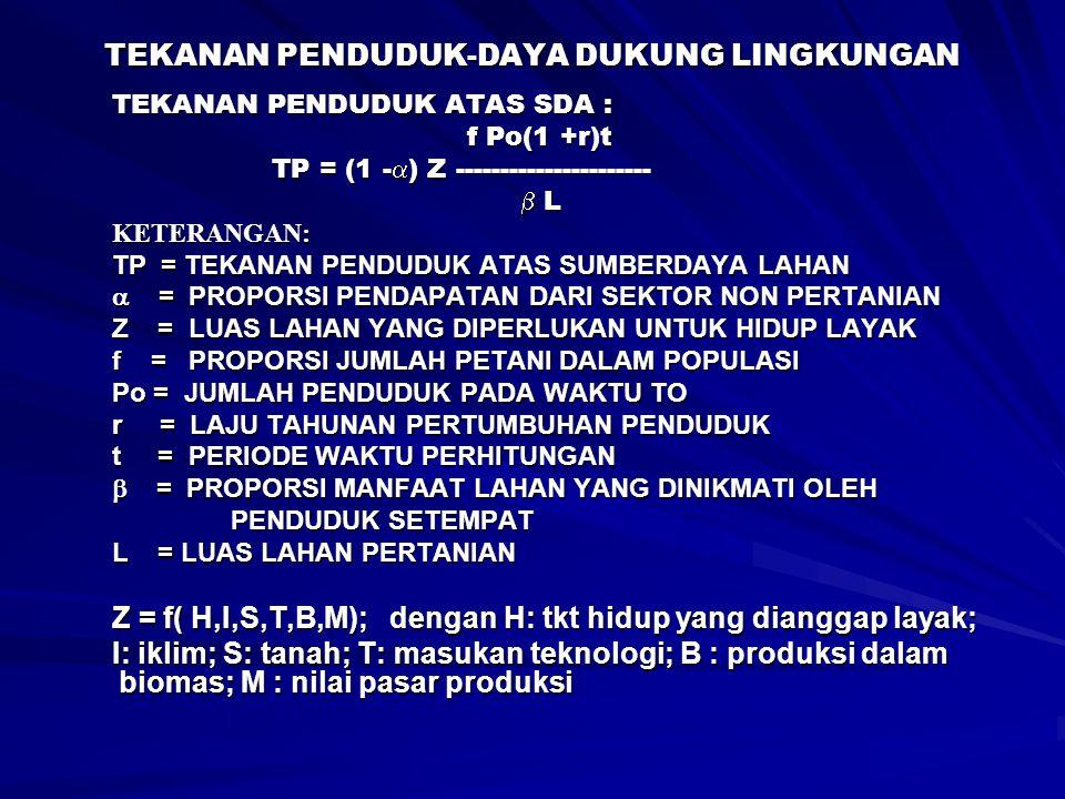 TEKANAN PENDUDUK-DAYA DUKUNG LINGKUNGAN TEKANAN PENDUDUK ATAS SDA : f Po(1 +r)t f Po(1 +r)t TP = (1 -  ) Z ---------------------- TP = (1 -  ) Z ---