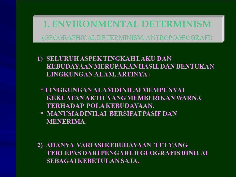 1.ENVIRONMENTAL DETERMINISM (GEOGRAPHICAL DETERMINISM, ANTROPOGEOGRAFI) 1)SELURUH ASPEK TINGKAH LAKU DAN KEBUDAYAAN MERUPAKAN HASIL DAN BENTUKAN LINGK