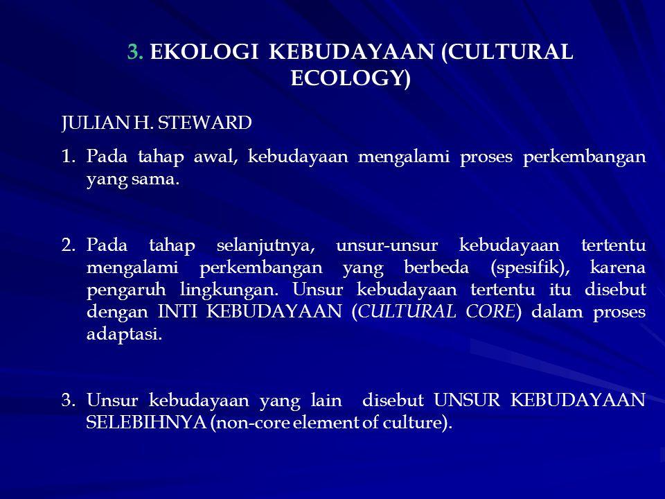3. EKOLOGI KEBUDAYAAN (CULTURAL ECOLOGY) JULIAN H. STEWARD 1.Pada tahap awal, kebudayaan mengalami proses perkembangan yang sama. 2.Pada tahap selanju
