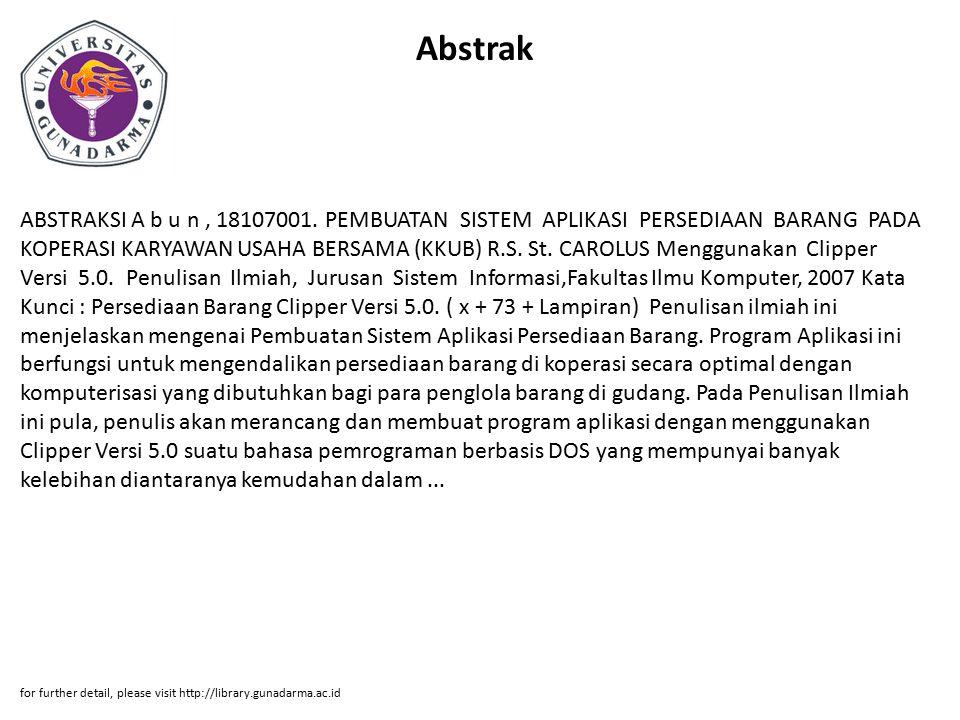 Abstrak ABSTRAKSI A b u n, 18107001.